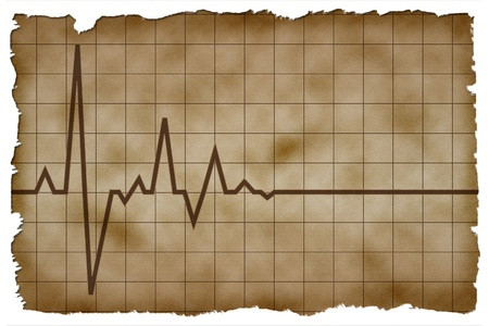 Old Paper Background with heart pulse high quality Stock Photo - 10806395