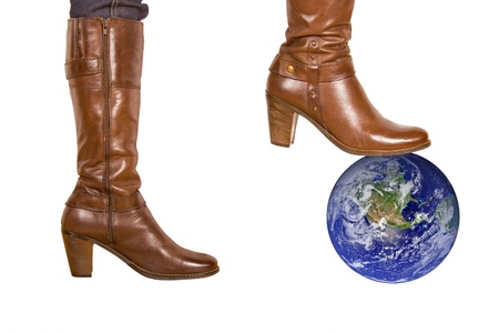 brown womans boot smash the earth  photo