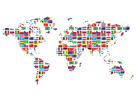 atlas: world map with flags Stock Photo