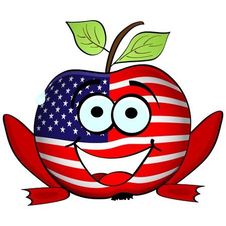 happy american apple Stock Vector - 10805496