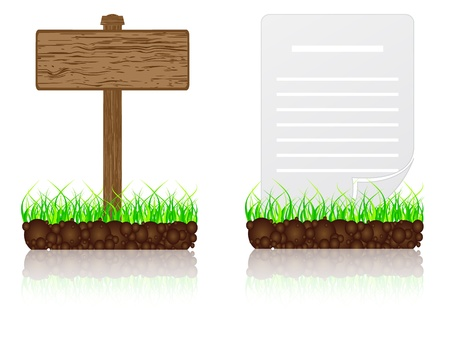 road surface: wooden banner and white paper in the grass