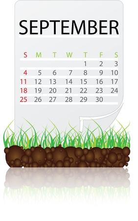 calendario septiembre: calendario de septiembre Vectores