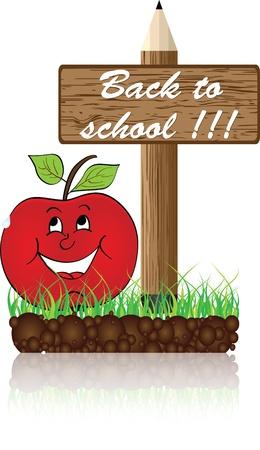 hi back: back to school banner Illustration
