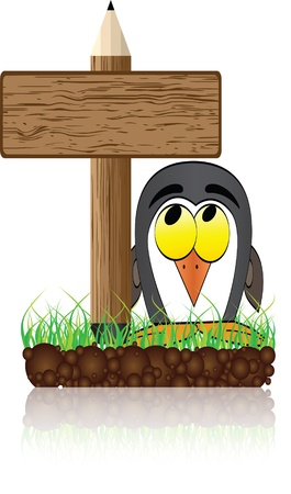 wooden banner with penguin Vector