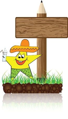 wooden banner with mexican star Vector