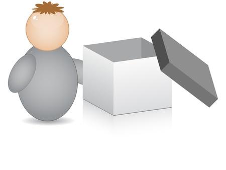 buddy: buddy with open box Illustration
