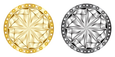 ornament  jewellery: golden and silver buttons Illustration