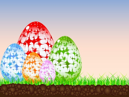 easter eggs in the grass Illustration