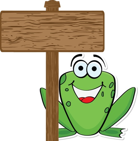 cute frog: frog with wooden banner  Illustration