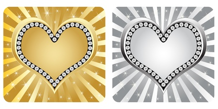 golden and silver heart banner Vector