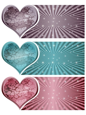 stone heart banners Stock Vector - 10805586