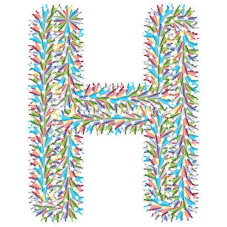 colorful letter h made of stars Vector