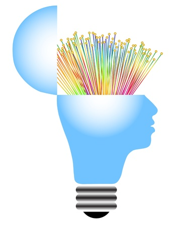 optical fiber: lightbulb with human head  Illustration