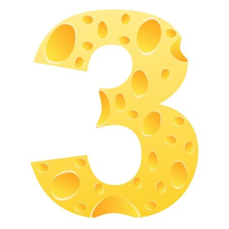 parmigiano: numero 3 Vettoriali