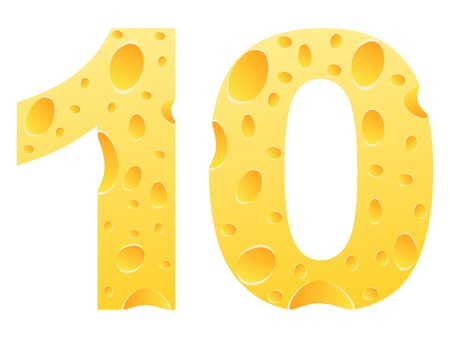 10: number ten made of cheese