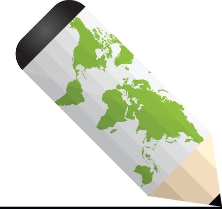 lapiz y papel: l�piz blanco con el mapa mundial sobre ella Vectores