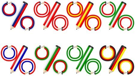 spanish flag: percent made of pencils