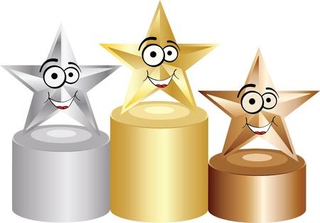 estrella caricatura: podio Vectores