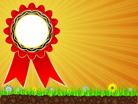 sunshine view with red ribbon Vector