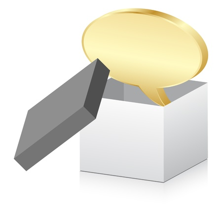 white box with golden chat icon Vector