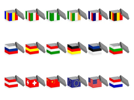 opne boxes with flags Vector