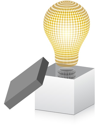 open box with lightbulb inside Stock Vector - 10806025