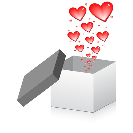 hearts rising up from the box open Vector