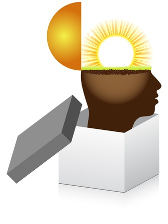 caja abierta con la mente humana