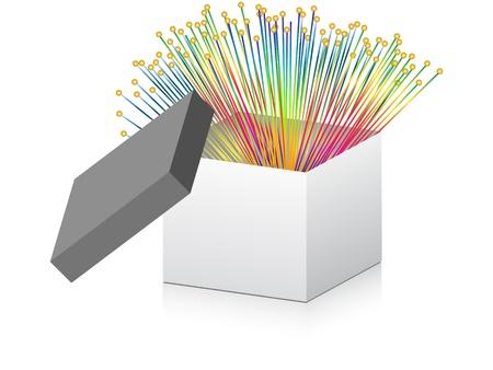 fiber optic: open box with optical fiber inside