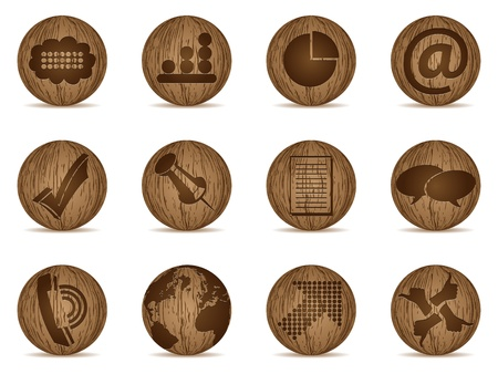 office icons made of wooden balls Vector