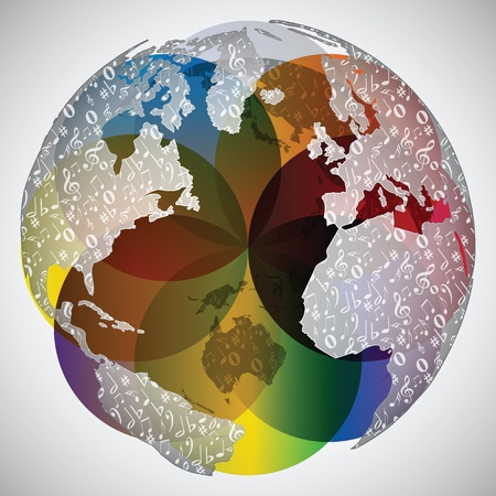colorful world globe with musical notes on it Imagens - 10805603