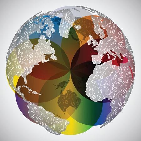 botones musica: mundo colorido mundo con notas musicales sobre ella