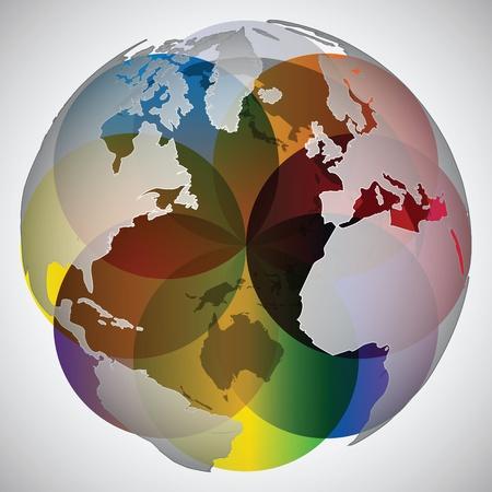 colorful world globe Illustration