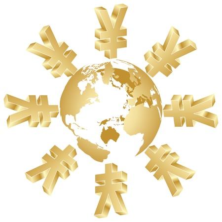 symbol of yen around the world Vector