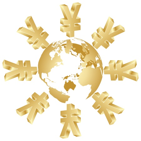 analyst: symbol of yen around the world Illustration