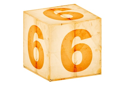 number six old box isolated on white photo
