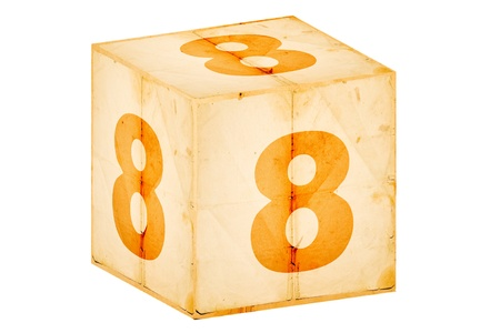 number eight old box isolated on white  photo