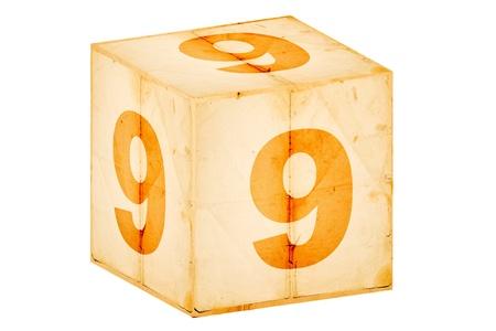 number nine old box isolated on white  photo