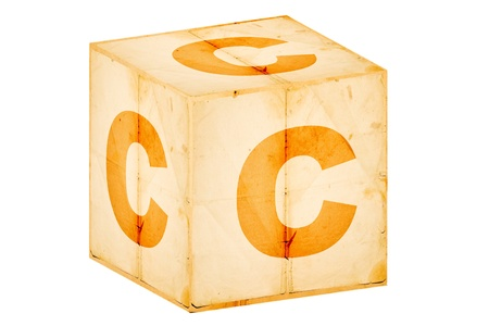 letter c on old box isolated on white photo