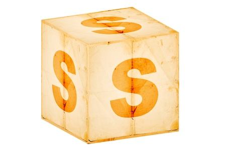 letter s on old box isolated on white  photo