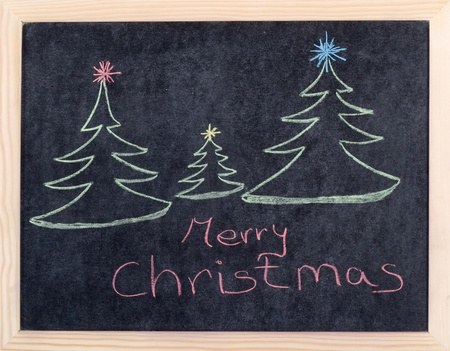 christmas concept drawing on blackboard  photo