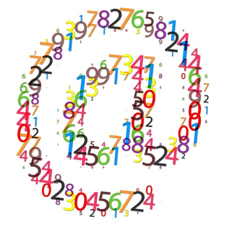 email icon made of colorful digits photo