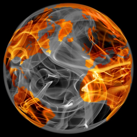 world globe in fire photo