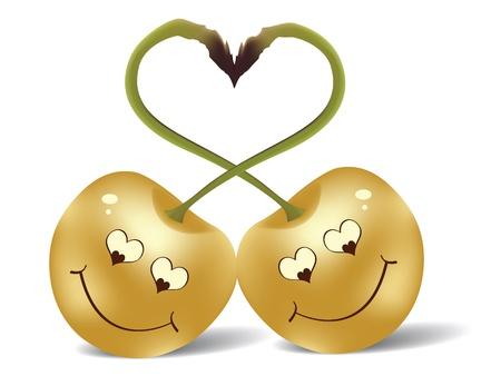cherry in love  Vector