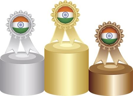 indischen Medaille Etiketten