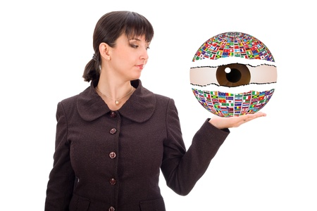 business woman with contry flag ball in hand photo
