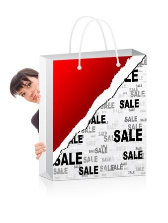 woman behind: business woman behind a shopping bag