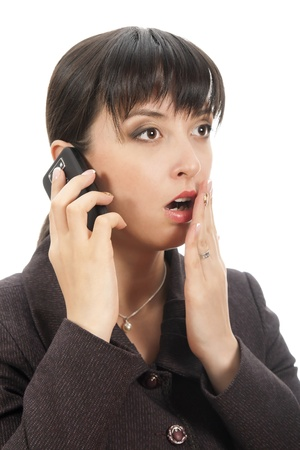 bruit: young woman listening rumor  Stock Photo