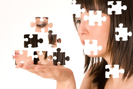 Beautiful girl with puzzle effect  photo