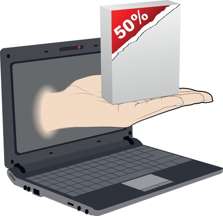 Palm come out from a screen of a laptop with fifty percent discount Vector